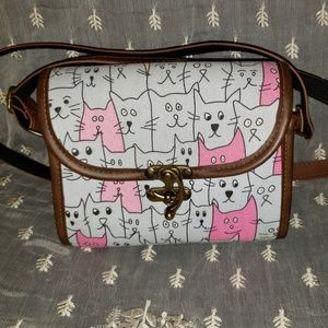 Crazy Cats PU Leather and Canvas Crossbody Bag